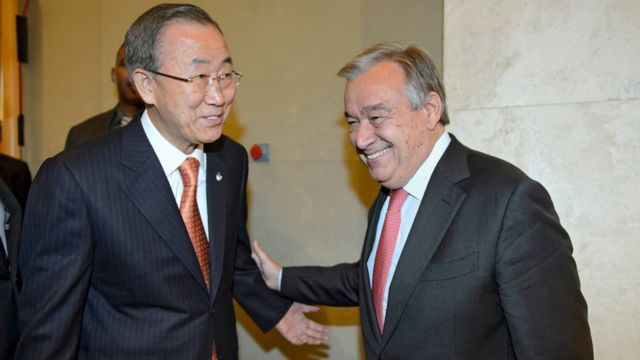 Outgoing UN secretary general Ban Ki-moon is welcomed by his successor Antonio Guterres to the UNHCR headquarters in 2014