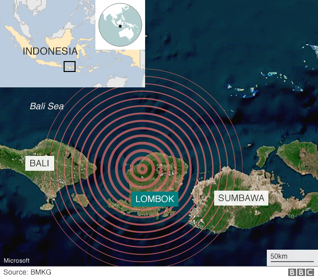 Map showing the location of the latest earthquake on Lombok