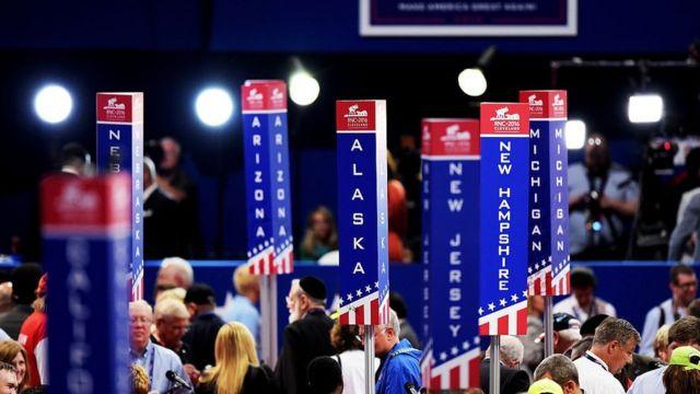 共和党全国大会の会場で