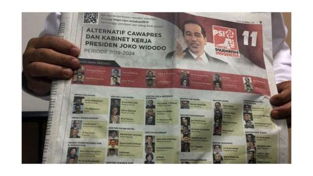 Survei alternatif cawapres dan menteri yang dibuat Partai Solidaritas Indonesia di salah satu media cetak nasional.