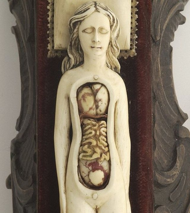 Modelo anatómico hecho en marfil de una mujer embarazada con partes móviles que quizás se usaba para tranquilizar a las futuras madres. Una de las maravillosas piezas de la colección del Wellcome Institute.
