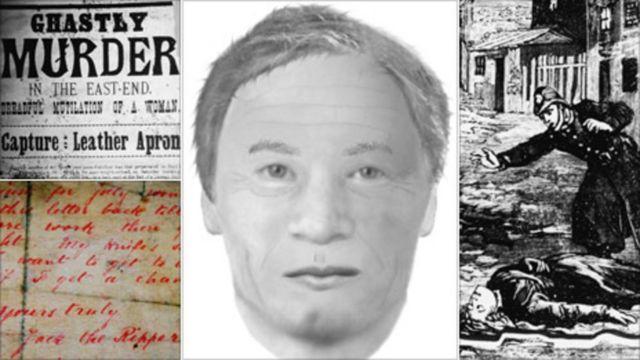 montagem com retrato falado do suspeito e ilustrações da época