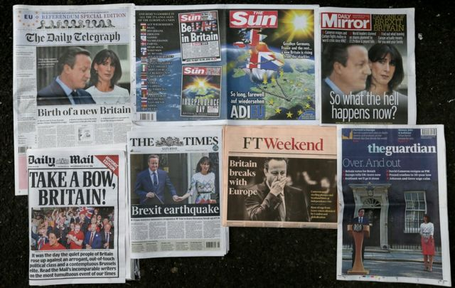 British newspapers react to Brexit