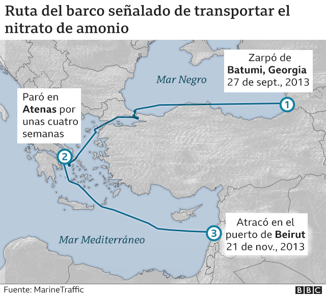 Mapa con la ruta que siguió el Rhosus