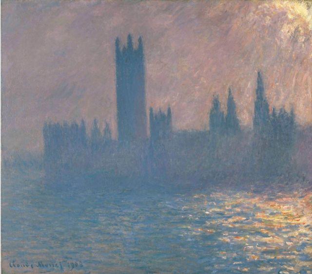 """картина Клода Моне """"Здание парламента в Лондоне. Закат"""""""