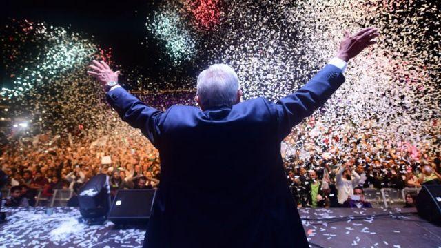 López Obrador, durante su discurso en el Zócalo de la Ciudad de México.