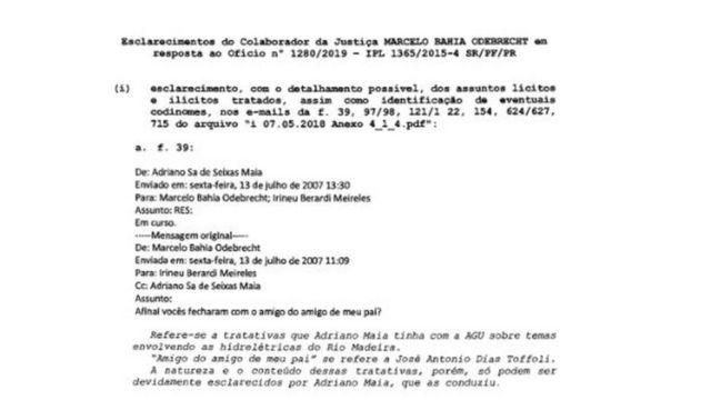 Trecho do documento em que Marcelo Odebrecht cita Dias Toffoli retirado dos autos da Lava Jato