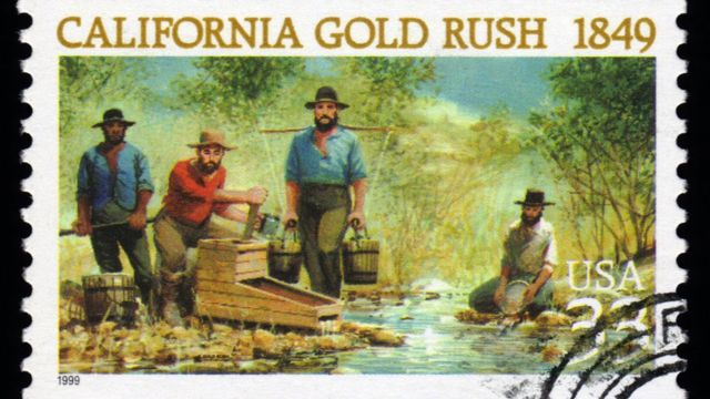 Estampilla que dice Fiebre del oro California