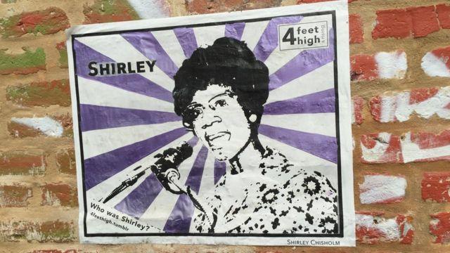 Afiche con la imagen de Shirley Chisholm en Nueva Orleans