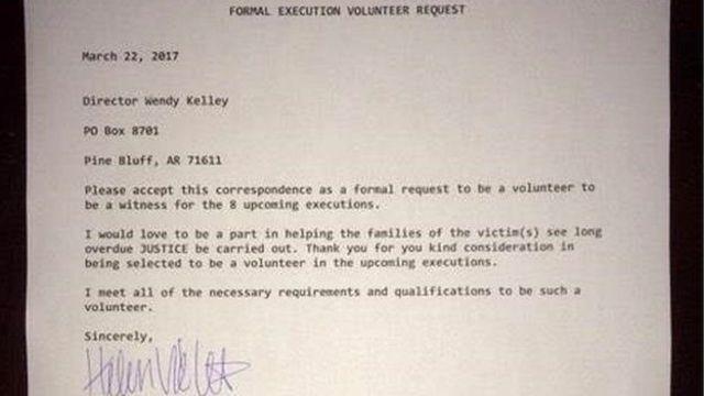 نامه بث وییل برای اعلام آمادگی به عنوان داوطلب تماشای اعدام