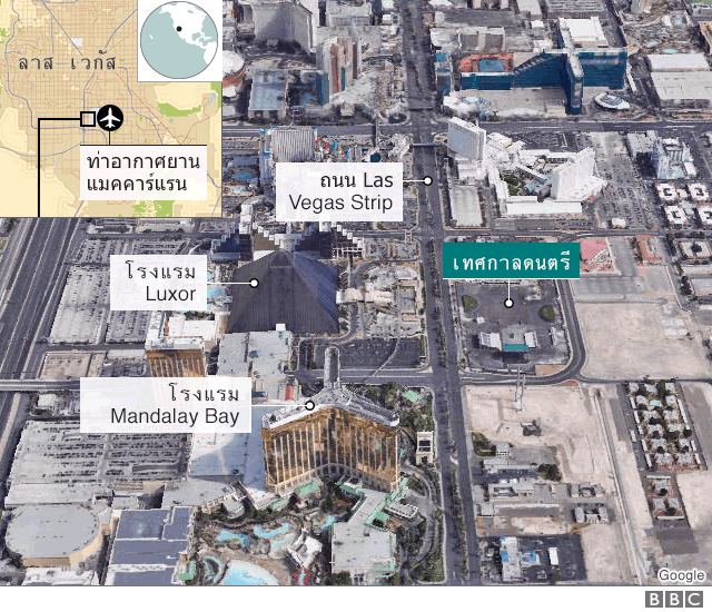 แผนที่บริเวณที่เกิดเหตุในลาส เวกัส