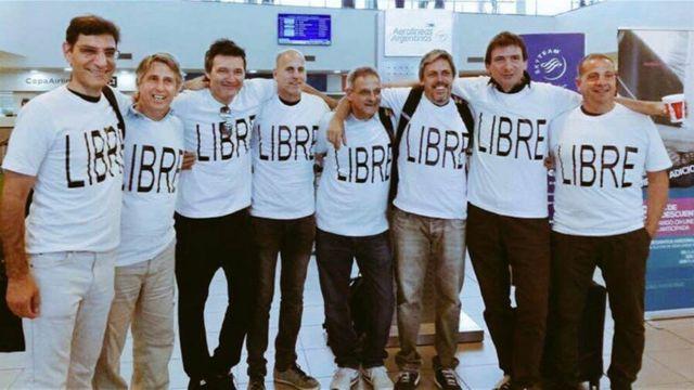 El grupo de amigos argentinos antes de su viaje a Nueva York. (Foto gentileza de La Nacion).