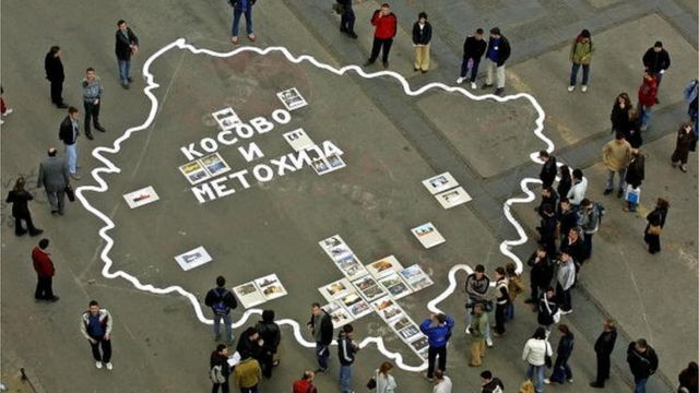 Mapa Kosova na Trgu Republike u Beogradu