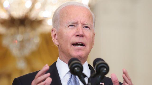 Tổng thống Hoa Kỳ Joe Biden phát biểu về Afghanistan, tại Phòng phía Đông của Nhà Trắng ở Washington, DC, Hoa Kỳ, ngày 16 tháng 8 năm 2021