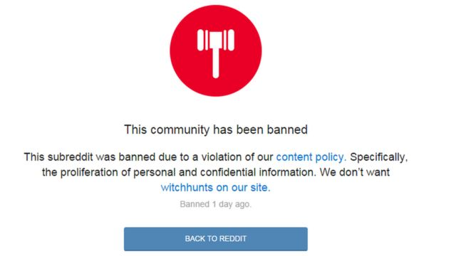 reddit: this community is banned