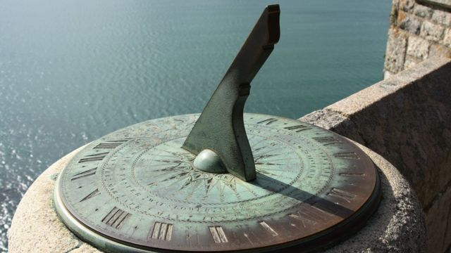 An ancient sundial on the castle walls of Saint Michael`s Mount, Cornwall, England
