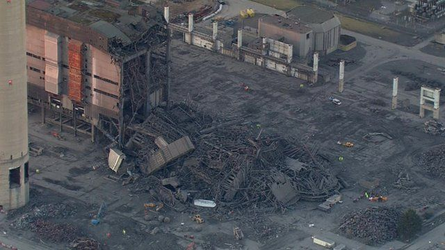 Aerial footage of Didcot explosion site