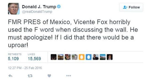 トランプ氏はフォックス元大統領が下品な言葉を使ったと非難。「謝罪すべきだ。私がそんな言葉を使ったら大騒ぎになるだろう」と