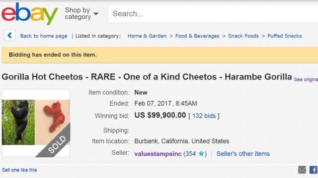"Screen grab of Ebay page for ""gorilla hot cheetos"" auction"