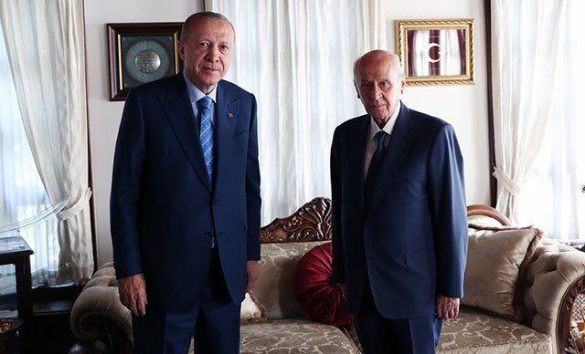 Cumhurbaşkanı ve AKP Genel Başkanı Recep Tayyip Erdoğan ile MHP Genel Başkanı Devlet Bahçeli