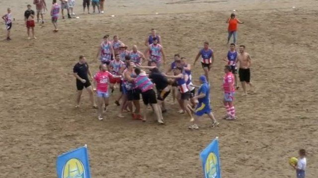Beach brawl in Swansea