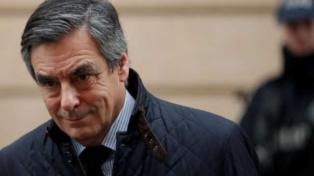 Francois Fillon, former French prime minister, member of The Republicans political party and 2017 presidential candidate of the French centre-right, leaves home in Paris, France, on 1 February