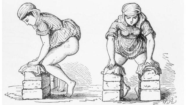 A sketch of a woman squatting to give birth while resting on two piles of bricks