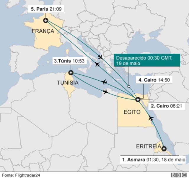 Mapa com o percurso do avião nas 24 horas anteriores à queda