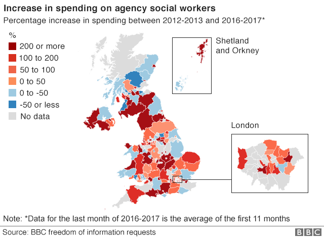 Map showing the percentage increase in spending on agency social workers between 2012-13 to 2016-17