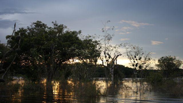 Entardecer no Rio Negro, Amazônia
