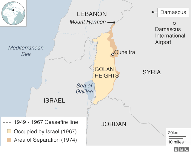 Map showing Israel, Lebanon, Syria and the Golan Heights