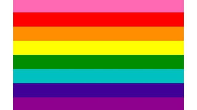 An eight-colour rainbow flag