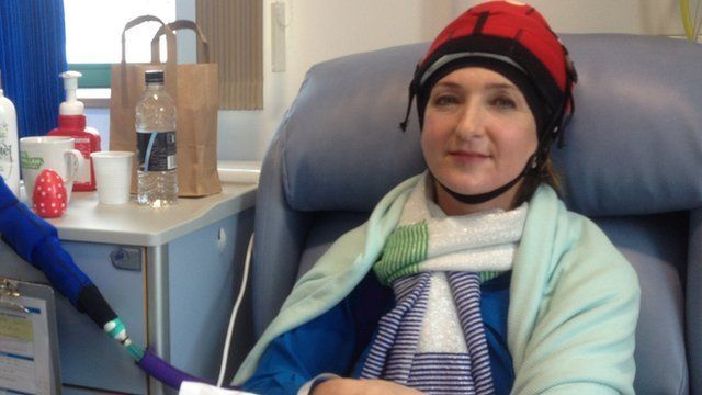 Derbyshire wearing a cold cap in hospital