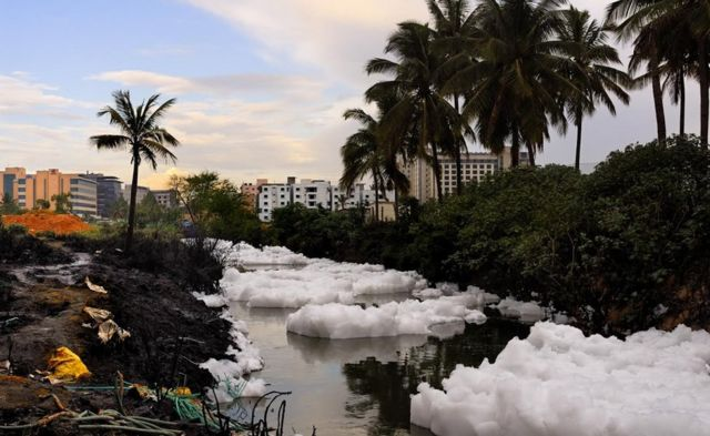 India Bangalore lake of toxic snowy froth