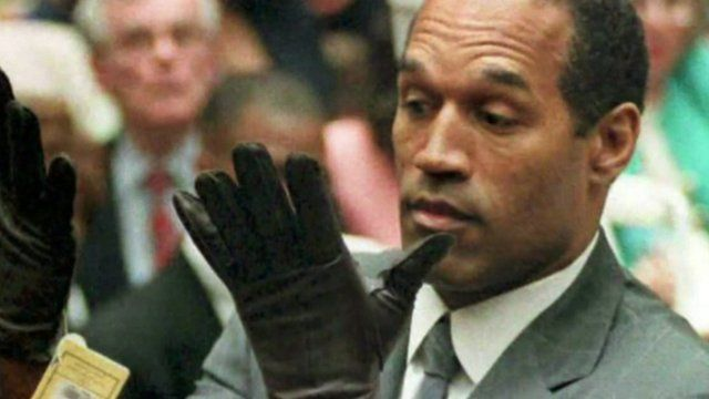 OJ Simpson wearing black leather gloves at his criminal trial in 1995