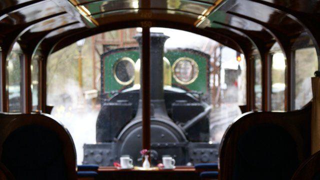 View from Pullman carriage at Tan y Bwlch, Gwynedd