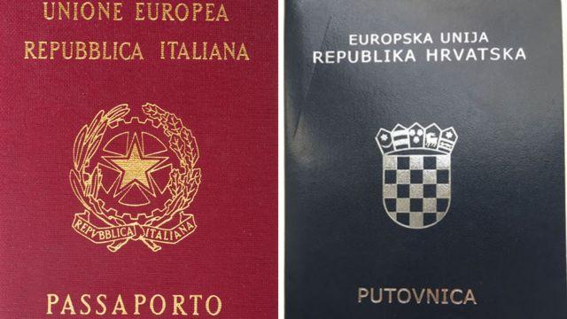 Passaporte da Itália e da Croácia lado a lado