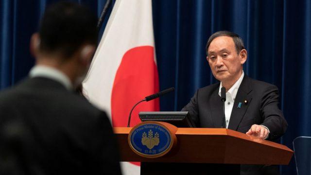 Primeiro-ministro, Yoshihide Suga, em pronunciamento em maio de 2021