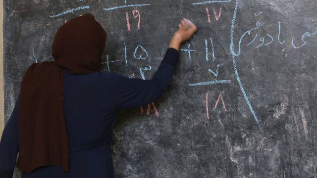 A teacher at work in an Afghan classroom