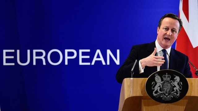 David Cameron addresses a press conference at end of an European Union summit in Brussels