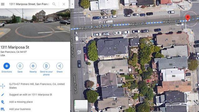 Captura de Google Maps mostrado uno de los círculos de cisternas de San Francisco