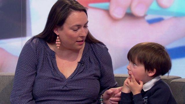 Dr Rachel Maynard and her son