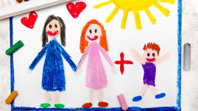 dibujo infantil, dos madres