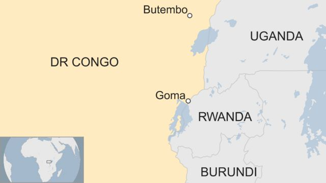 Ikarita yerekana i Butembo na Goma muri DR Congo, ni hafi ya Uganda n'u Rwanda, Uganda