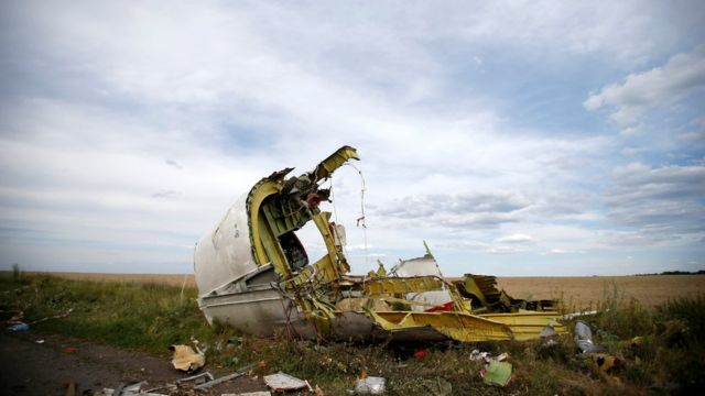 A part of the wreckage (debris) is seen at the crash site of the Malaysia Airlines Flight MH17
