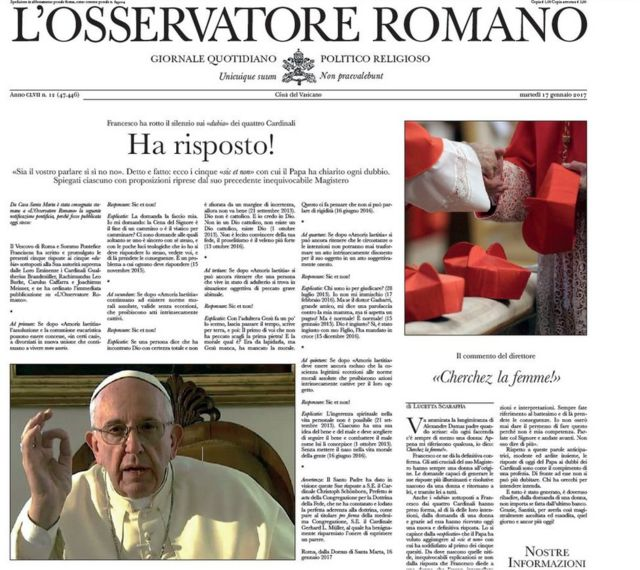 "The spoof L'Osservatore Romano, a ""fake"" front page of the Vatican's newspaper, created to mock Francis"