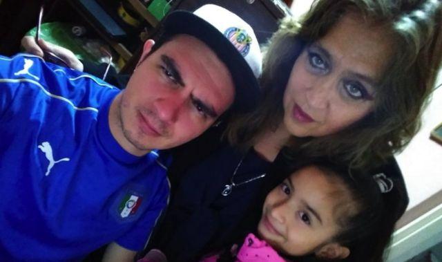 David Reséndiz, su hija y su mamá María de Lourdes Magaña