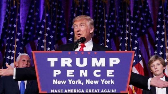 دونالد ترامب اثناء خطاب الفوز في الانتخابات