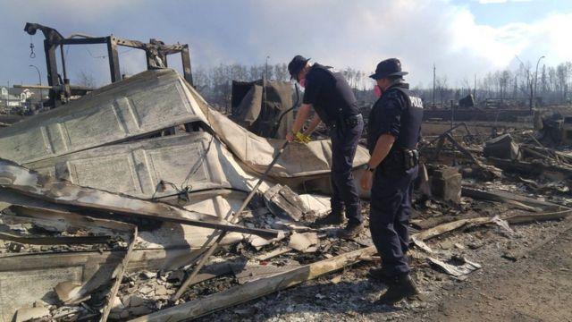 一帯が延焼したフォートマクマリーの地域