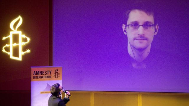 Edward Snowden a live video conference as part of Amnesty International's annual Write for Rights campaign at the Gaite Lyrique in Paris. 10 Dec 2014